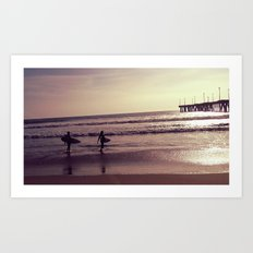 Surfers & Sunset Art Print