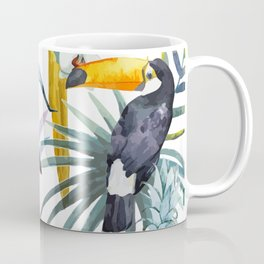 Big Tropical Pattern Toucans Parrot Pineapples Coffee Mug