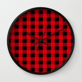 Christmas Red And Black Buffalo Plaid Pattern Wall Clock