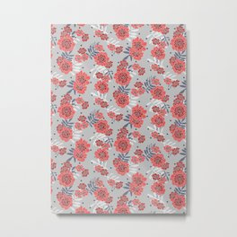 Crimson and Silver Floral Metal Print