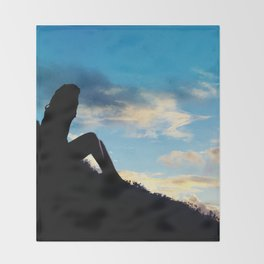 Evening Sunset Landscape - Mountain Girl Throw Blanket