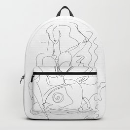 Woman and fish lineart Backpack