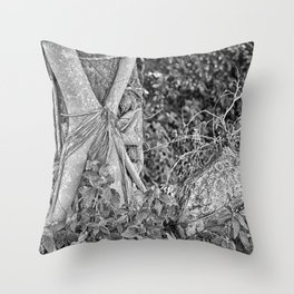 Strangler fig and boulder in the rain forest Throw Pillow