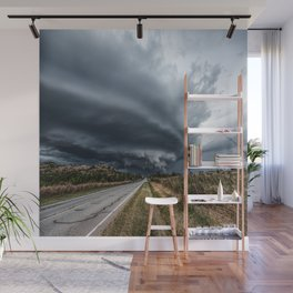 Mothership - Intense Autumn Storm Advances Over Oklahoma Plains Wall Mural