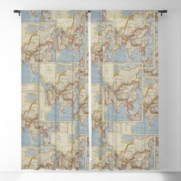 Vintage Map Of Asia Collage Blackout Curtain