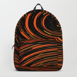 circle pattern abstract background in orange and black Backpack