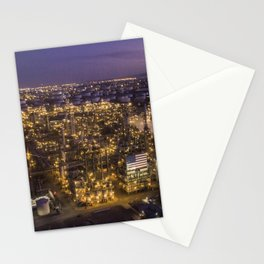 Oil Refinery at Sunset Stationery Cards