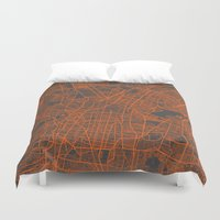 mexico Duvet Covers featuring Mexico Map by Map Map Maps