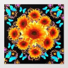 WESTERN BLUE BUTTERFLIES GOLDEN SUNFLOWERS BLACK ART Canvas Print