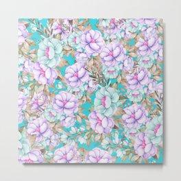 Modern aqua lavender teal watercolor hand painted floral Metal Print