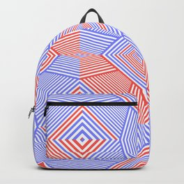 Colorful Blue And Red Geometric Shape Pattern Backpack