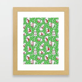 Christmas Cats in Knitted Sweaters Seamless Vector Pattern Framed Art Print