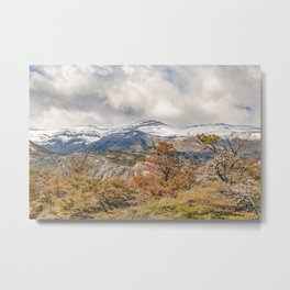 Forest and Snowy Mountains, Patagonia, Argentina Metal Print