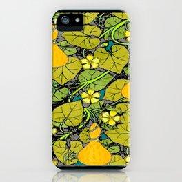 Green Art Nouveau Vines Gourds Floral Teal Art iPhone Case