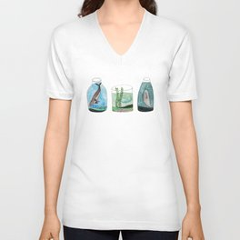 whales in a jar Unisex V-Neck