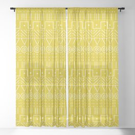 Mudcloth Style 1 in Mustard Yellow Sheer Curtain