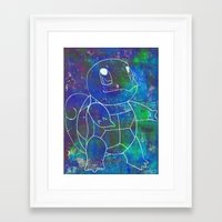 squirtle Framed Art Prints featuring Squirtle by pkarnold + The Cult Print Shop