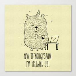 Unemotional Bear vs. Tech Canvas Print