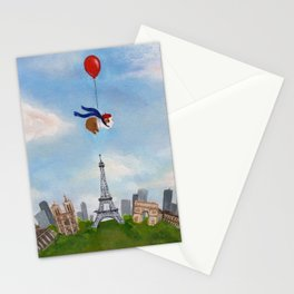 Guinea Pig With Balloon Over Paris, France Stationery Cards