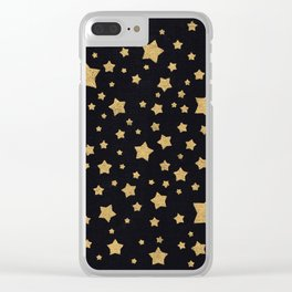 Gold Stars on BLack Clear iPhone Case