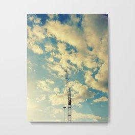 Building Crain In Clouds Metal Print