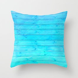 bright cyan blue distressed stained painted wood board wall Throw Pillow