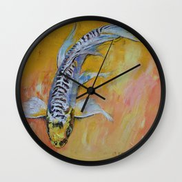 Yellow Dragon Koi Wall Clock