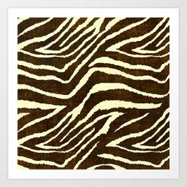 Animal Print Zebra in Winter Brown and Beige Art Print