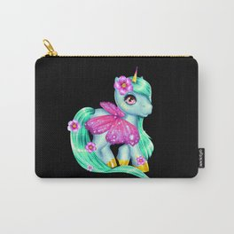 Green unicorn girl with wings and rainbow hair Carry-All Pouch