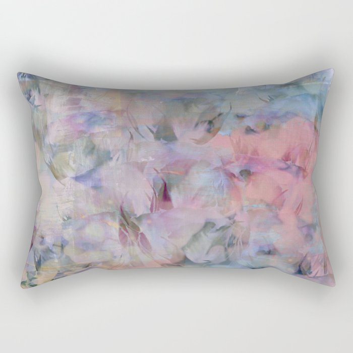 Painterly Soft Flora Abstract Rectangular Pillow