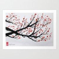 sakura Art Prints featuring Sakura by rchaem