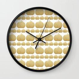 Gold Glitter Pumpkin Wall Clock
