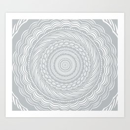 Spiral Mandala Detailed Eclectic Ethnic Spiritual Minimalism Minimalist Design (Light Cool Gray) Art Print