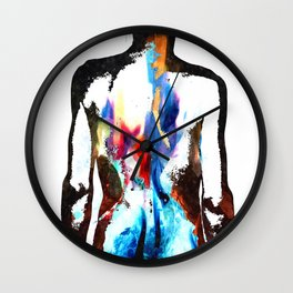 Flames on Back Tattoo Art Wall Clock
