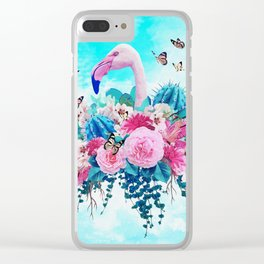 FLORAL FLAMINGO Clear iPhone Case