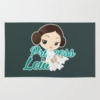 princess leia Area & Throw Rugs featuring Princess Leia Pin up by Piccolinart