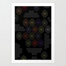stitches in black Art Print