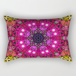 Garden mosaic mandala - radiant red and pink Kaleidoscope with glimmers of gold Rectangular Pillow