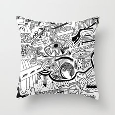 hand drawn doodle illustration Throw Pillow