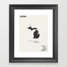 Michigan Minimalist State Map with Stats Framed Art Print