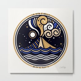 La Vita è Bella – Mediterranean Volcano in Tan Blue Palette Metal Print