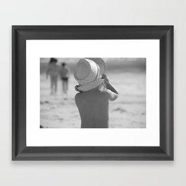 Kid with hat N&B Framed Art Print