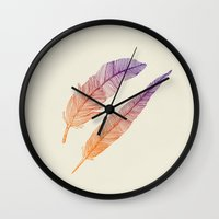 feathers Wall Clocks featuring Feathers by pakowacz