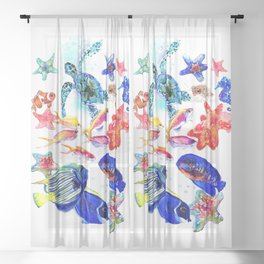 Sea World,Underwater Scene coral sea, beach tropical ocean sea beach house design Sheer Curtain