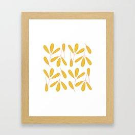 Retro Yellow Leaves Framed Art Print