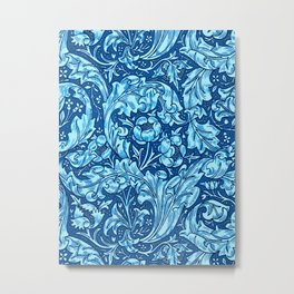Art Nouveau Acanthus Leaves and Flowers, Sky Blue Metal Print