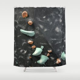 Bouldering indoor free climbing gym holds orange blue Shower Curtain