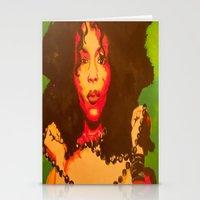 erykah badu Stationery Cards featuring Erykah Badu  by Paintings That Pop