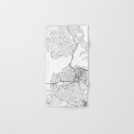 Auckland White Map Hand & Bath Towel