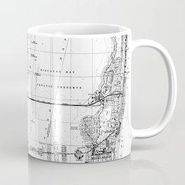 Miami Florida Map (1988) BW Coffee Mug
